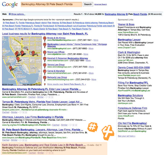 #4 in Google for Bankruptcy Attorney in Local Search