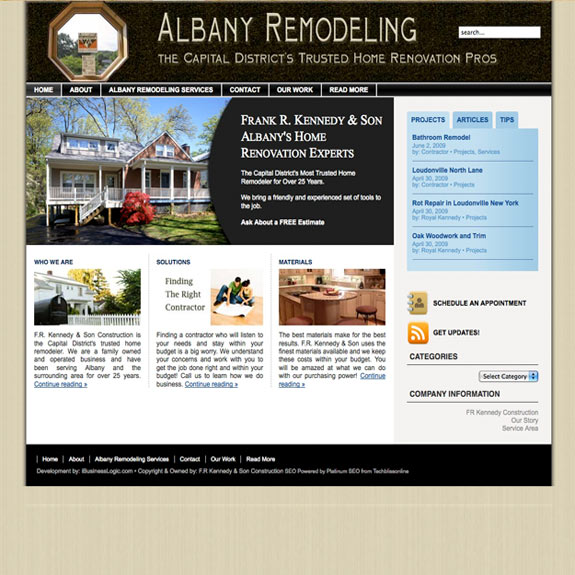 Albany New York Home Renovation Website Performs in Local Market