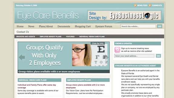 EyeBusinessLogic – Websites for Opticians / Opthamologists and Eye Care Benefits Providers