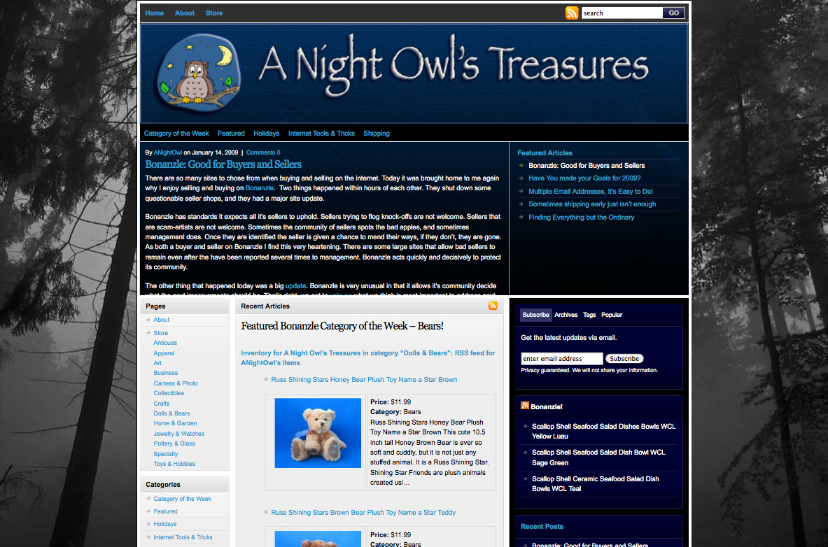 A Night Owls Treasures – WordPress with eBay Import